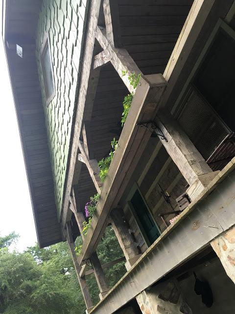 Reclaimed wood gutter planter hood creek log cabin