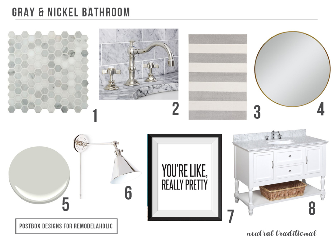 Polished Traditional Gray Bathroom by Postbox Designs | How to choose classic elements for bathroom fixtures, and where to use trendy finishes or decor instead