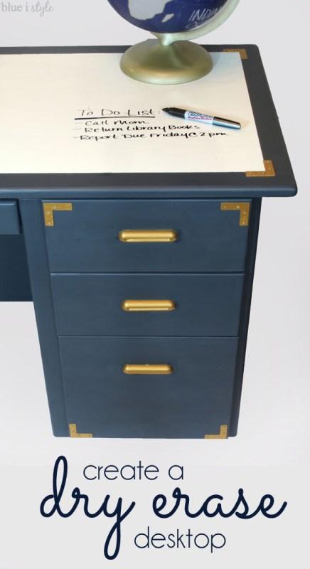 desk makeover with dry erase desktop, Blue I Style