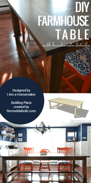 diy farmhouse table building plan and tutorial @Remodelaholic