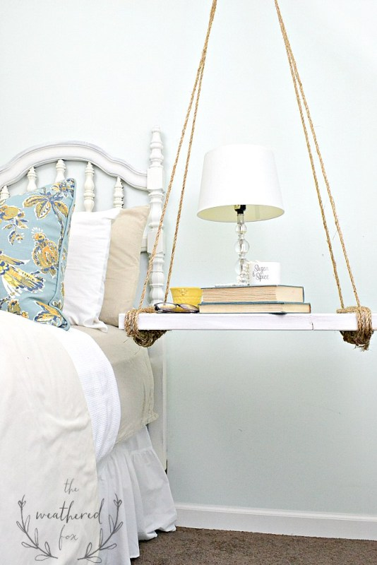 hanging nightstand DIY bedside storage, The Weathered Fox