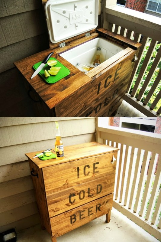 ikea tarva dresser hack to be an ice chest with a cooler in it via IKEAHacker