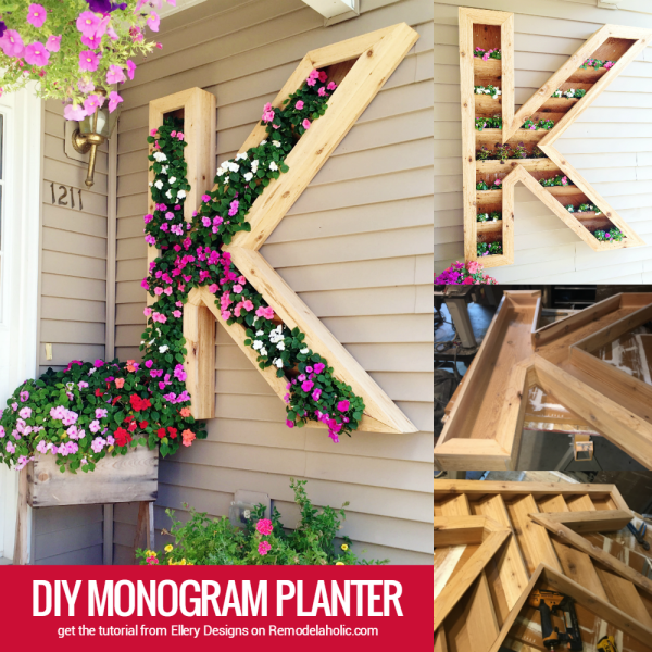large outdoor DIY monogram planter by Ellery Designs on @Remodelaholic