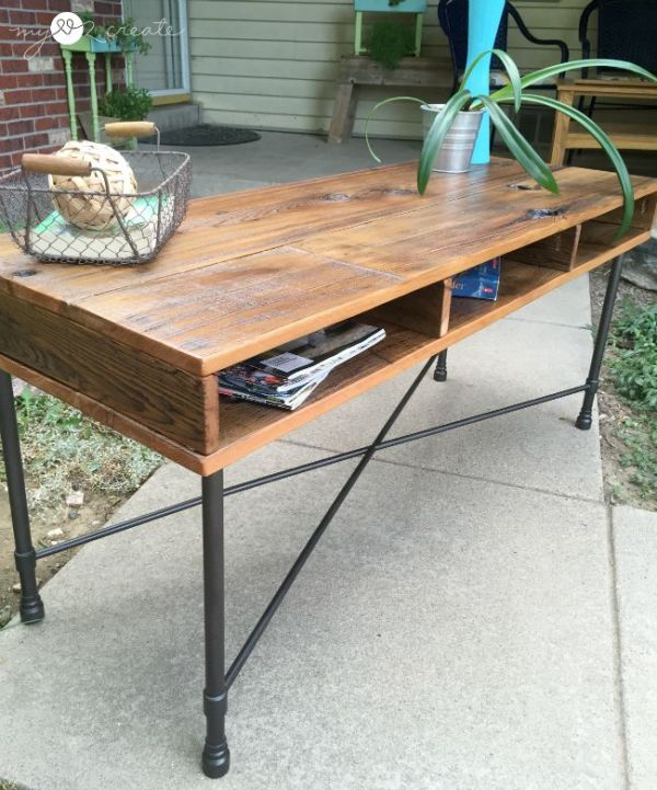 reclaimed wood coffee table with metal legs, Mylove2create