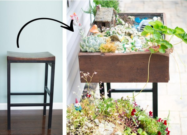 turn a stool into a garden table for an gnome or fairy garden, Paint Yourself a Smile