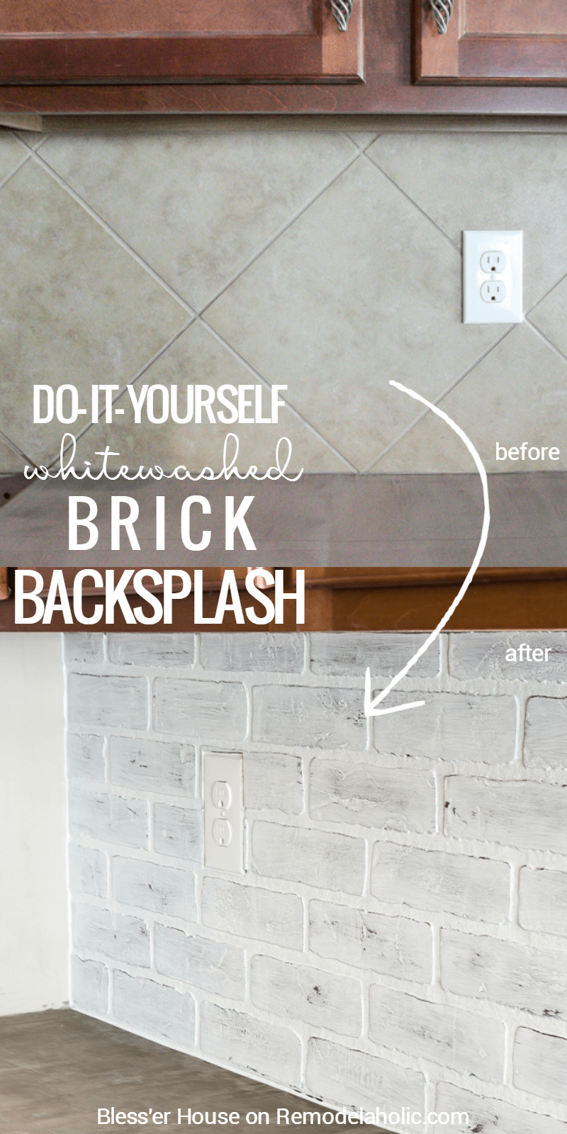 enchanting faux brick backsplash kitchen | Remodelaholic | DIY Whitewashed Faux Brick Backsplash