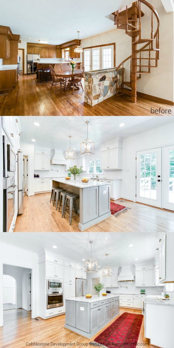 1980's Dated Kitchen into Modern White Kitchen, Fendall Home Renovation, Cobblestone Development Group featured on @Remodelaholic