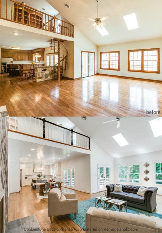 1980's Living Room and Kitchen Update, Fendall Home Renovation, Cobblestone Development Group featured on @Remodelaholic