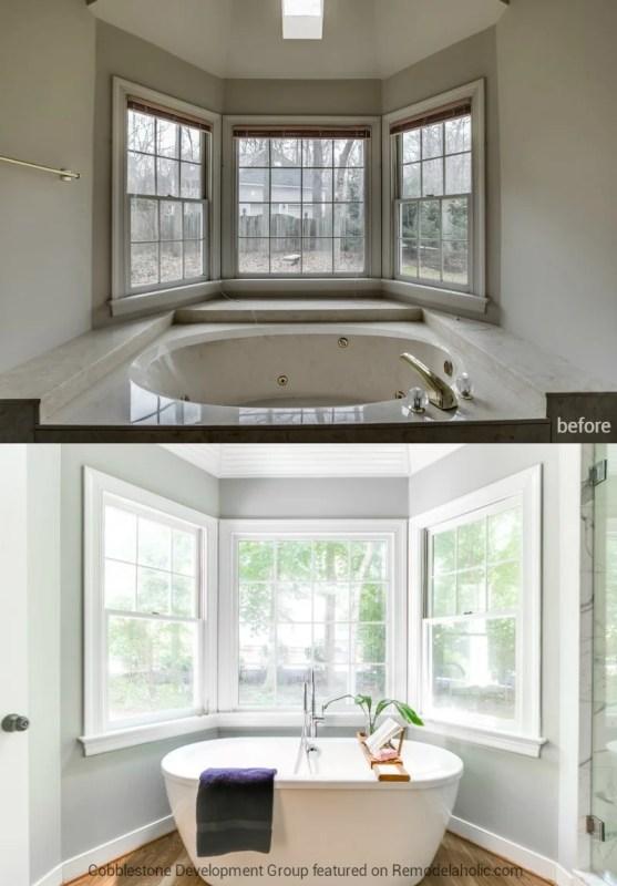 1980's Master Bathroom Tub Renovation, Fendall Home Renovation, Cobblestone Development Group featured on @Remodelaholic