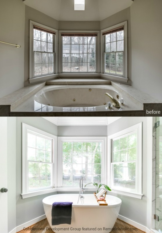 1980's Master Bathroom Tub Renovation, Fendall Home Renovation, Cobblestone Development Group featured on @Remodelaholic