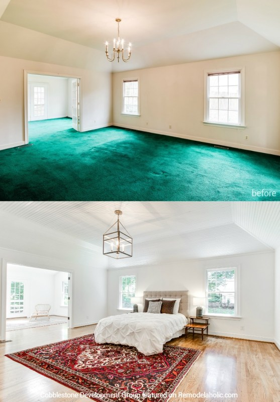 1980's Master Bedroom Update, Fendall Home Renovation, Cobblestone Development Group featured on @Remodelaholic