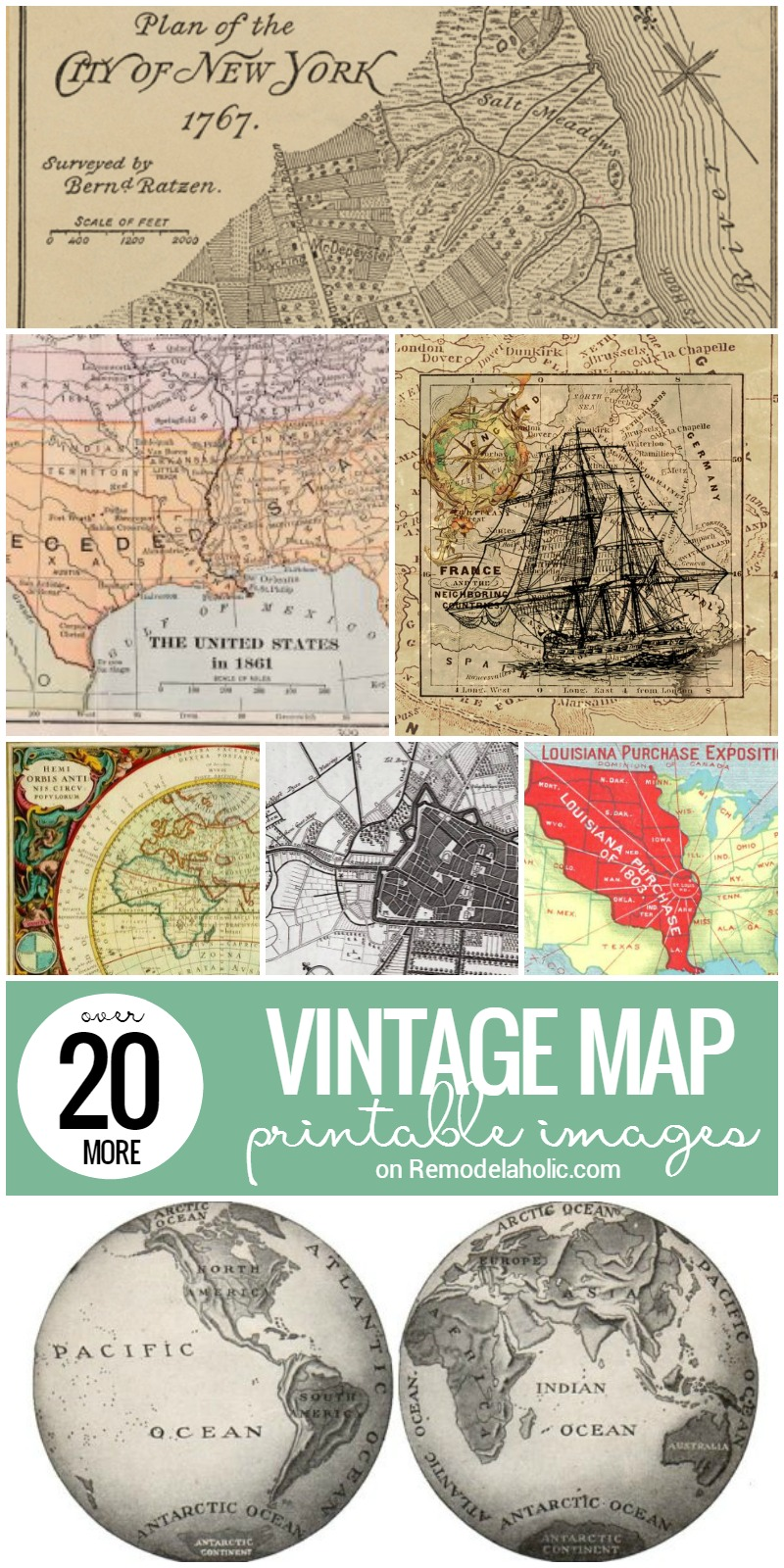 Remodelaholic 20 more free printable vintage map images in addition to the 20 vintage map printable images we collected before now we gumiabroncs Gallery