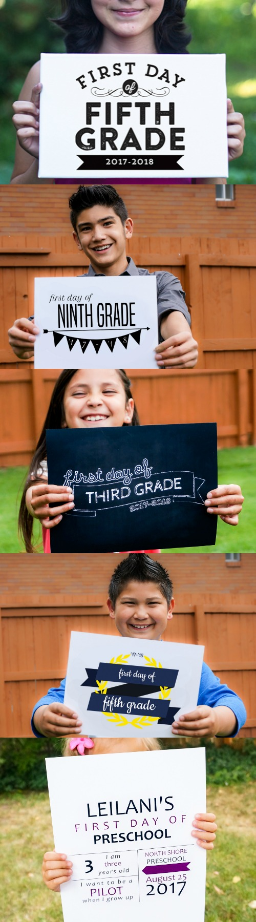 2017 2018 First Day Of School Printable Photo Signs, 5 Different Styles, Free Download And Custom Print From @Remodelaholic