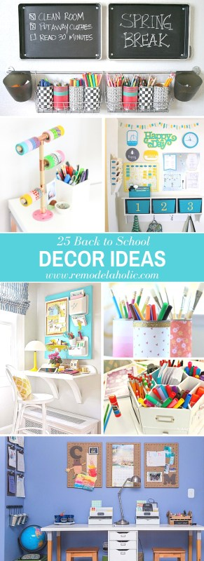 Get in the mood for school with these beautiful back to school decor ideas. 25 ways to decorate for back to school via @remodelaholic #backtoschool #remodelaholic #backtoschoolideas #decorating #decoratingideas