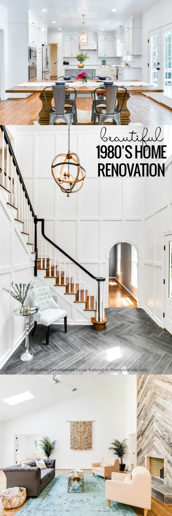 This dated 1980's renovation became a beautiful and classically modern home with some beautiful design choices, including a reclaimed wood facade fireplace and dark herringbone tile in the entryway. Details and more before and afters on Remodelaholic.com