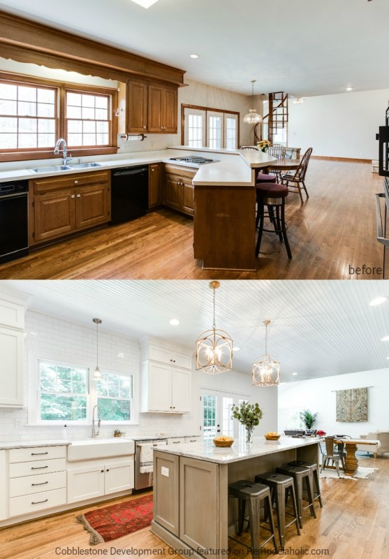 Dated 1980's Kitchen into Modern White Kitchen, Fendall Home Renovation, Cobblestone Development Group featured on @Remodelaholic