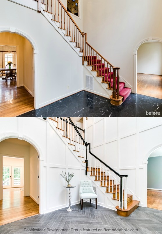 Entryway Renovation, Fendall Home Renovation, Cobblestone Development Group featured on @Remodelaholic