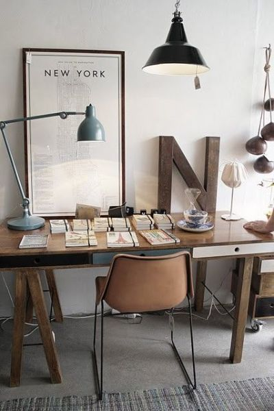 rustic modern office space Remodelaholic | Rustic Modern Home Office Design Inspiration & Tips