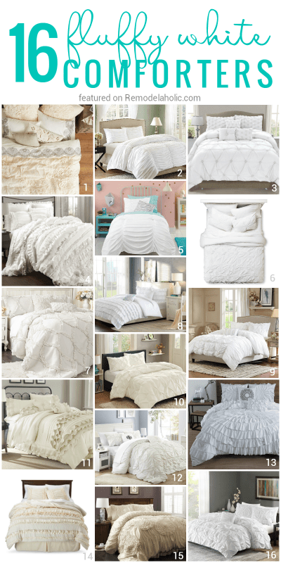 These 16 comfortable fluffy white comforters and duvets make the perfect bedding for a comfortably chic bedroom @Remodelaholic