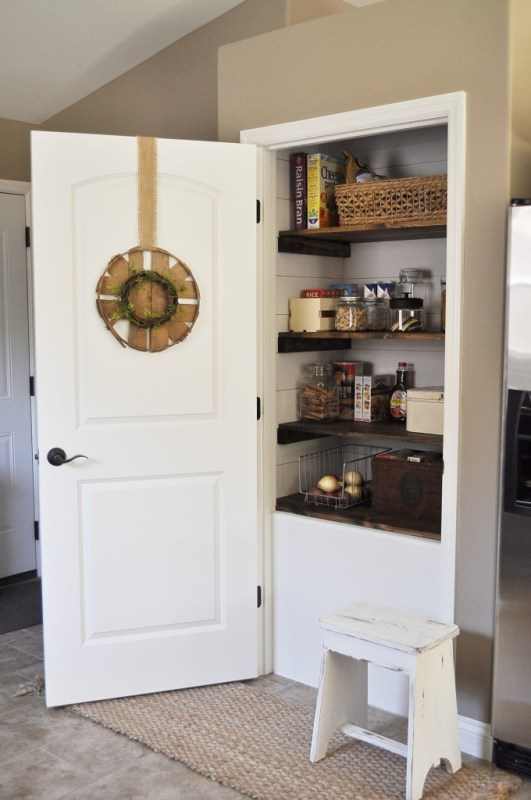 farmhouse style pantry makeover with shiplap and wood shelves, Little Glass Jar
