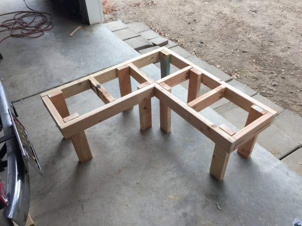 DIY Corner Bench frame with legs attached