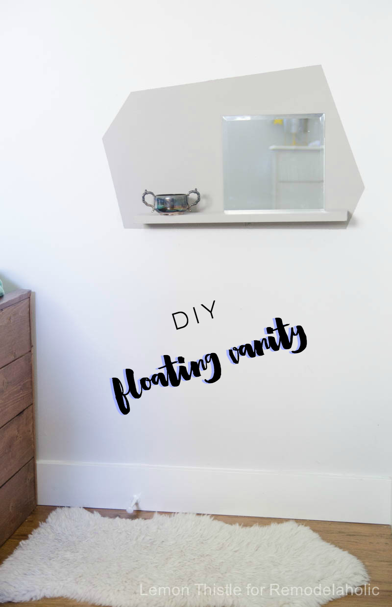 Create a DIY kids' floating vanity and ready station - perfect for a tight space or kids room, plus help small children learn independence and self-care. Tutorial from Lemon Thistle Blog on Remodelaholic.com