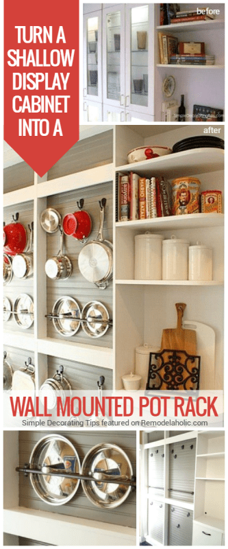 make a wall mounted pot rack with beadboard and hooks to replace a dated shallow display cabinet, SimpleDecoratingTips featured on @Remodelaholic