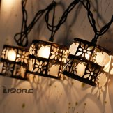 outdoor string lights, metal and shell