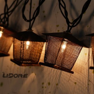 outdoor string lights, vintage lantern