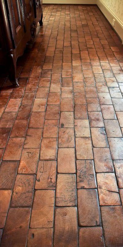 wood block floor showing end grain, like an old factory floor