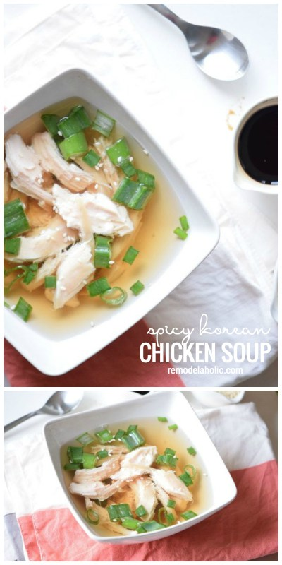 Looking for a simple and unique soup to serve for dinner? this light and yummy soup is perfect for cool nights. Spicy Korean Soup Recipe on Remodelaholic.com