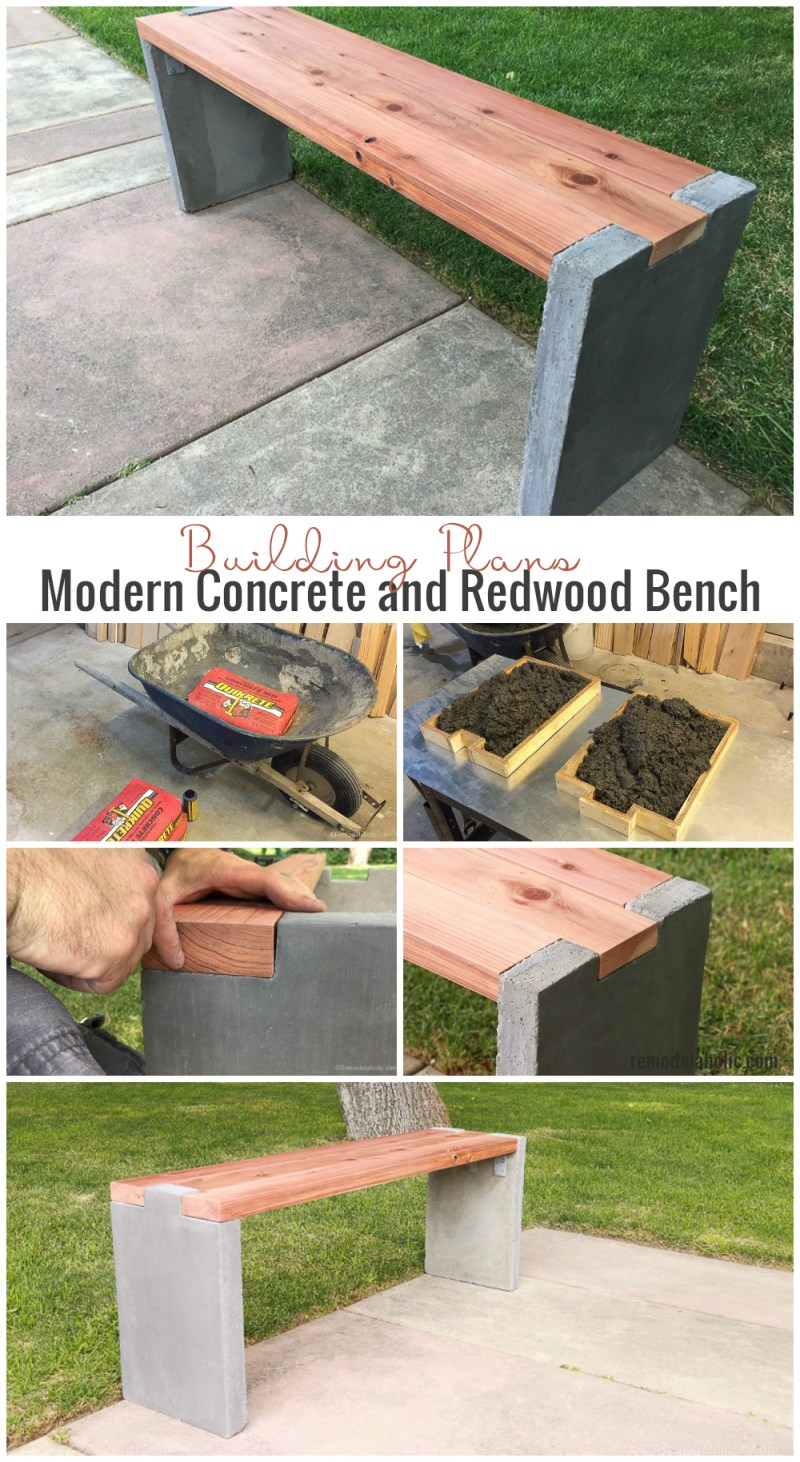 Remodelaholic modern concrete and redwood bench tutorial for Concrete building plans