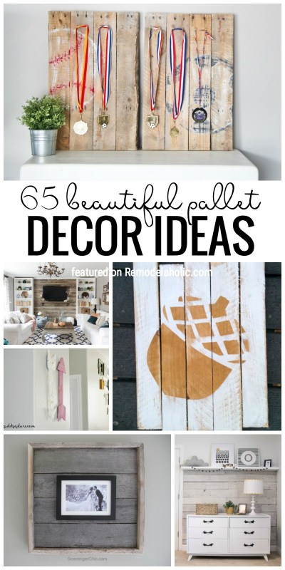 Decorate your home with pallets in a BEAUTIFUL way! 65 beautiful pallet decor ideas featured on Remodelaholic.com