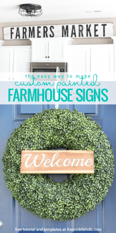 Make your own custom hand painted farmhouse signs with this easy tutorial, plus free templates to get you started! Tutorial from Bless'er House for Remodelaholic.com