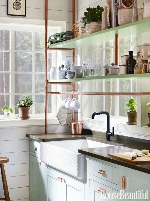 Mint and Copper Kitchen Inspiration   Image Source: House Beautiful Photo Credit: Kohler