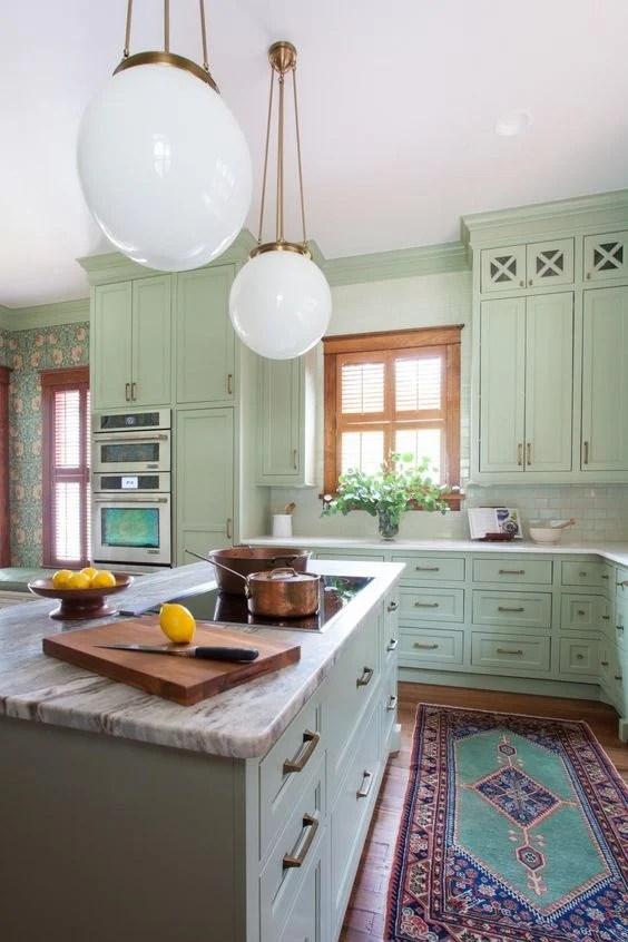 Mint and Copper Kitchen Inspiration   Image Source: HGTV Photo Credit: Erin Williamson