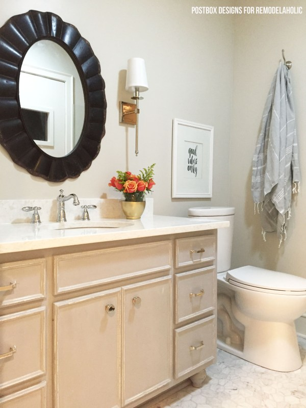 No sanding or priming! Chalk Paint® bathroom vanity makeover (and full bath renovation) on @remodelaholic