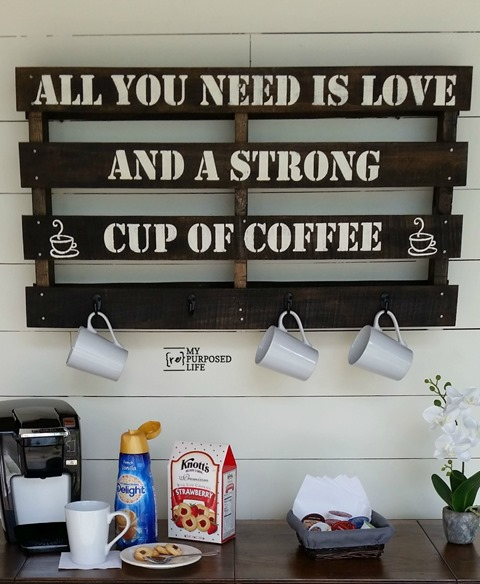Coffee Rack. 16 clever organization pallet hacks featured on remodelaholic.com