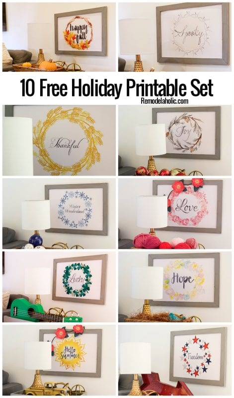Easy seasonal decorating, look no further! This set of free holiday printables has 10 beautiful hand-painted watercolor prints to help make seasonal decorating as easy as can be! Get the free printable set on Remodelaholic.com.