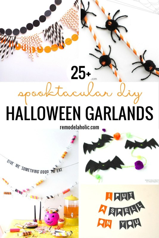 Get your Halloween decor ready with a new garland. There are so many great ones to choose from right here. 25 Spooktacular DIY Halloween Garlands Featured On Remodelaholic.com