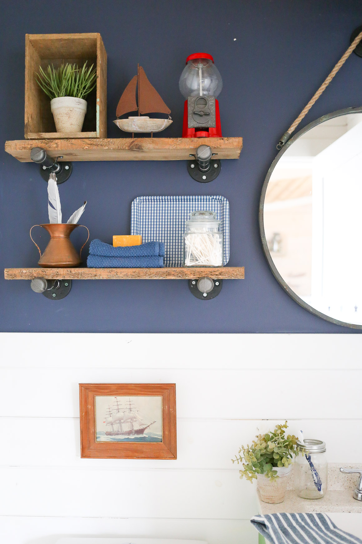 Diy Industrial Reclaimed Wood Shelves With Pipe Brackets