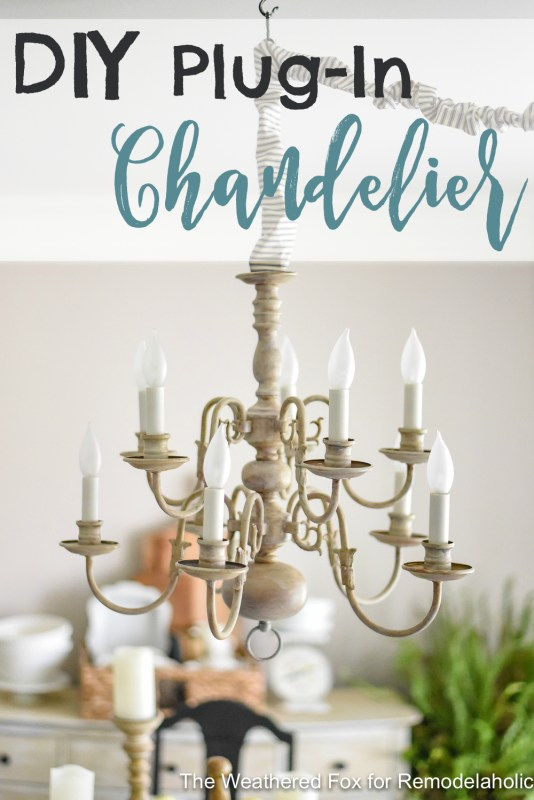 Remodelaholic Diy Plug In Chandelier From Thrifted