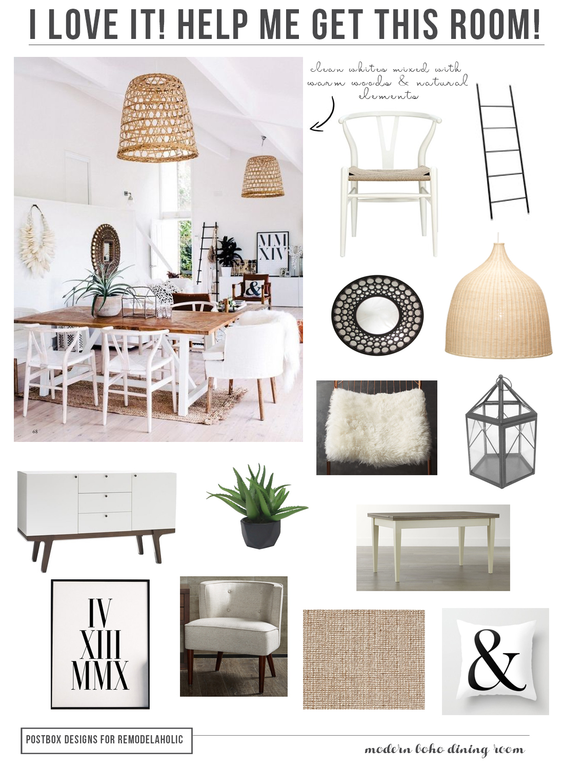 Get The Look: Boho Chic Dining Room Design Inspiration and Tips | Postbox Designs for Remodelaholic.com