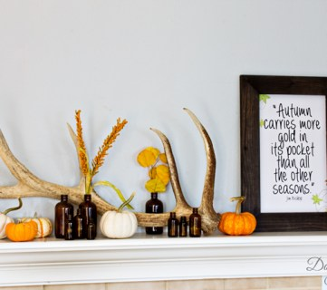 Rustic Autumn Mantel With Antlers Brown Bottles And A Cute Free Printable 2
