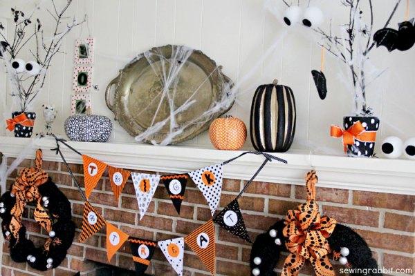 spooky Halloween mantel space