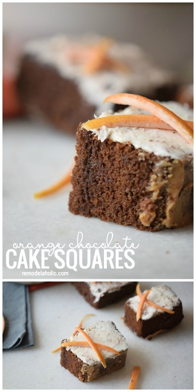 Try These Yummy Treats To Satisfy A Sweet Tooth. Orange Chocolate Cake Squares Via Remodelaholic.com