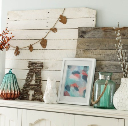 Turquoise Coral Fall Mantel At Thehappyhousie.com 7