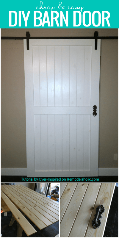 Build this cheap and easy DIY barn door for around $80! Plus tips for finding budget-friendly rolling door hardware and door handles.