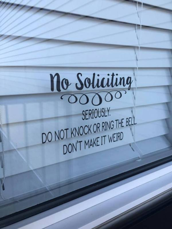 Clever And Funny No Soliciting Sign Via Expression Vinyl FB