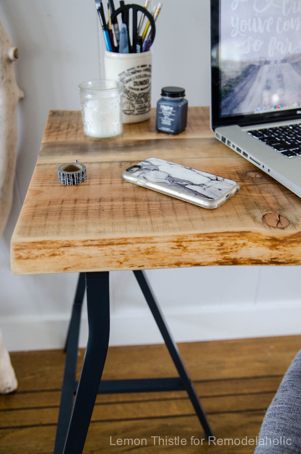DIY Live Edge Desk with Trestle Legs- I can't believe it's an Ikea Hack- It looks so great!
